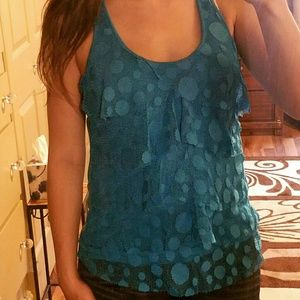 Bright Blue Dotted Tank w/ Layered Lace on Front